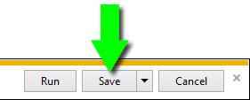 Select Save in the browser download window